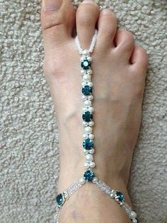 Pearl-Blue-Crystal-and-Rhinestone-Barefoot-Sandal-Bridal-diamante-Foot-Jewelry