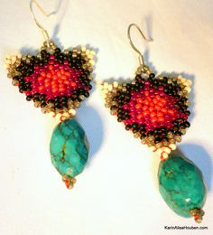 Milk Snake Suite - Beadwoven Turquoise Earrings & Pendant — Karin Alisa Houben