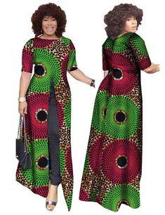 Image of African Dashiki Straight Split Printing Long Dresses African Fashion Designers, African Dresses For Women, African Print Dresses, African Print Fashion, Africa Fashion, African Attire, African Wear, African Fashion Dresses, African Dashiki