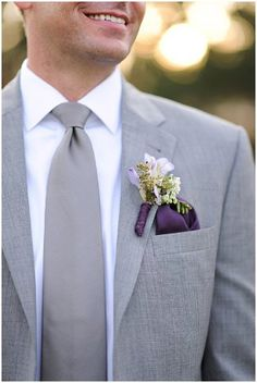 Lilac Purple and Gray Valentines Day Wedding