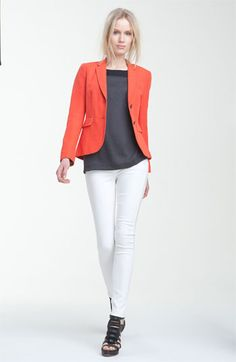 rag & bone 'Bailey' Blazer available at Nordstrom Cool Outfits, Fashion Outfits, Womens Fashion, Dressy Outfits, White Jeans Outfit, Autumn Fashion, Coral Blazer, Orange Blazer, Orange Jacket
