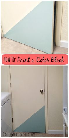 How to update a boring door with paint for DIY color block. Cheap home decor ideas. Laundry room, mudroom, powder room door and decor ideas. Decor Crafts, Home Crafts, Diy Home Decor, Room Decor, Paint Color Schemes, Paint Colors, Saving Ideas, Cool Diy Projects, Homemaking