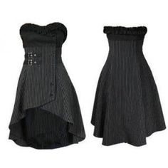 0c3276766df2d BLACK GOTHIC PINSTRIPE FRILLY WRAP   BUCKLE SWISHY WAISTCOAT TOP 6-28  Bustier Dress