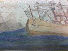 Dibujo a lapices de colores, Barco The Defiant. Por MRR.