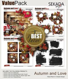 Value Pack: Autumn and Love Digital Scrapbooking, Embellishments, Christmas Wreaths, Packing, Autumn, Love, Holiday Decor, Mini, Design