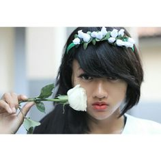 Sweet ladies with red lips, white rose and white flower crown