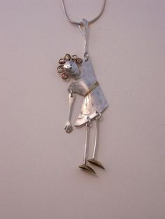 James LeTerneau, Hanging by a Thread necklace, mixed metals w/ sterling chain