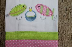 Embroidered  and Appliqued Fishing Lure Burp Cloth for Boys or Girls on Etsy, $18.00