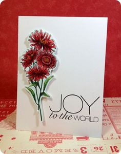 Tobi Crawford + the December Greenhouse and Jingle All the Way by Ali Edwards stamp sets from TechniqueTuesday.com = a beautiful card! I can't believe she stamped everything on here.