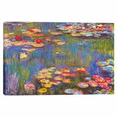 """Canvas reproduction print of Claude Monet's """"Water Lilies.""""   Product: Canvas printConstruction Material: Canvas and pine woodFeatures:  Original art by Claude MonetUltrachrome and anti-fade inksNorth American anti-shrink pinewood bars Dimensions: Small: 18"""" H x 26"""" W Medium: 26"""" H x 40"""" W Large: 40"""" H x 60"""" W Notes: Large size comes as a three panel setCleaning and Care: Avoid high levels of moisture or humidity. Do not use any chemical, fluids or sprays to clean your canvas print. Dust…"""