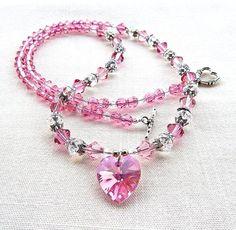 Rose Swarovski Crystal Necklace by BevmarDesigns on Etsy, $30.00