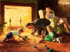 An idyllic domestic scene ~ Henry Hintermeister