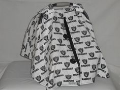 Oakland Raiders baby car seat cover/canopy by SewCuteNanna on Etsy https://www.etsy.com/listing/246427796/oakland-raiders-baby-car-seat