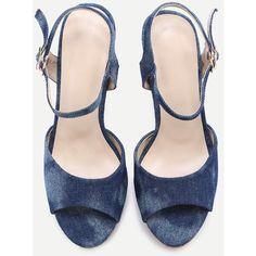 SheIn(sheinside) Blue Denim Ankle Strap Cork Platform Sandals (38 BRL) ❤ liked on Polyvore featuring shoes, sandals, shein, chunky-heel sandals, peep toe sandals, blue sandals, chunky high heel sandals and blue platform sandals