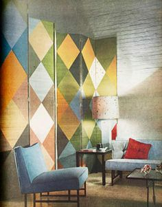 diamond pattern screen + white brick (House Beautiful, 1953)