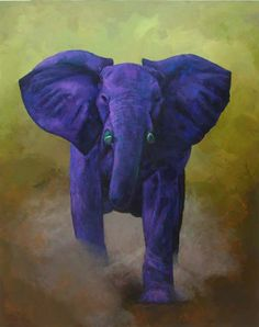 Elephant painting by Julia Lucich called Rogue Party. The power of this elephant is emphasized through contemporary color interpretation.