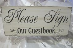 Rustic Wedding Please Sign Our Guestbook Sign Reception Gift Table Guest book. $18.00, via Etsy.