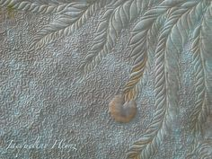 """Sample of machine quilting pattern """"stippling"""" in combination with feathers to show students how stippling can be used as a background filler.  Jacqueline Heinz, Germany"""