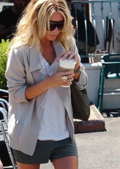 5440913944a2 simple yet chic. white tee, shorts, loose fit cardigan, wavy hair,