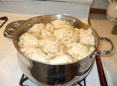 Old Time Chicken with Bisquick Dumplings- there's no veggies listed in the ingredients, but everyone knows you need carrots, celery and corn :)