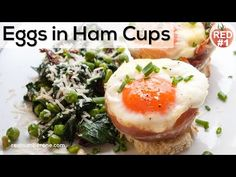 Eggs baked in ham cups garnish with green peas fried with spinach and sun-dried tomatoes. Sounds tasty, isn't it? This quick, simple and very tasty recipe is… Semolina Cake, Smoked Ham, Tasty, Yummy Food, Piece Of Bread, Baked Eggs, Serving Plates, Cheddar Cheese, Spinach