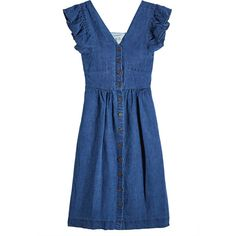 SEA Button-Front Cotton Dress ($505) ❤ liked on Polyvore featuring dresses, blue, embellished dress, cotton dresses, blue ruffle dress, flounce dress and button up front dress