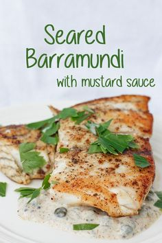 This Seared Barramundi (Asian Sea Bass) is cooked to perfection in browned butter, and served with a tangy Mustard Caper Sauce. This flavorful dish is ready in under 20 minutes, and is perfect for Date Night! Fish Recipes, Seafood Recipes, Cooking Recipes, Healthy Recipes, Cooking Fish, Cooking Beets, Cod Recipes, Cooking Turkey, Seafood Stew