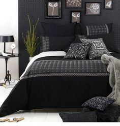 Black And White Bedroom, using different textures to create an interesting space