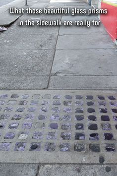 What those beautiful glass prisms in the sidewalk are really for Innovative Architecture, City Streets, Pavement, Sustainable Design, Vaulting, Colored Glass, Purpose, Sidewalk, Lights