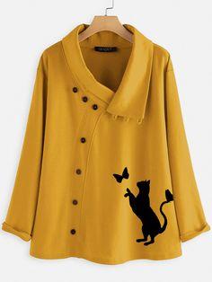 Button Cartoon Cat Print Long Sleeve Blouse For Women Cheap - NewChic Mobile Collar Shirts, Shirt Blouses, Blouse Online, Blouse Styles, Printed Blouse, Looking For Women, Pull, Blouses For Women, Fashion Outfits