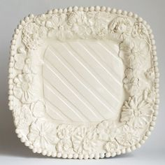 Square Platter with Flowers