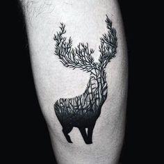 Bicep Creative Tree Deer Antlers Male Tattoos