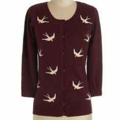 Spotted while shopping on Poshmark: Birdlandia cardigan in merlot! #poshmark #fashion #shopping #style #ModCloth #Sweaters
