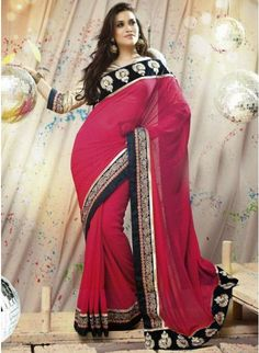 Gleaming multi color Printed #Saree With Zari Work #designersarees #clothing #womenswear #womenapparel #ethnicwear