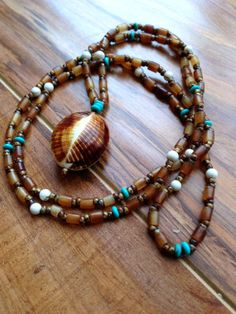 Bohemian Necklace - Boho Jewelry - Shell Necklace - Ocean Jewelry - Casual Jewelry - Beaded Necklace - Yoga Inspired - Hippie Jewelry on Etsy, $28.00