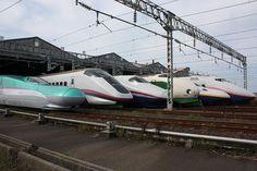 JR東日本の新幹線!  左からE5系、E3系、E2系、200系、E4系、E1系