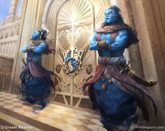 No artist or title given. But WOW! Two djinn as door guards -- there is some very nasty individual in charge of this place!