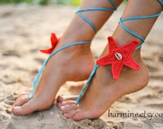 Crochet Powder Pink Barefoot Sandals Nude shoes Beach