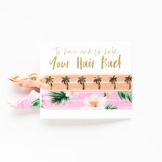 Hawaiian Hair Ties bridal shower bridesmaid wedding Bachelorette favors tie the knot aloha hair ties bridesmaid proposal