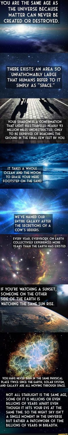 The Universe And Your Place In It i pinned this on my history board but could also be science i guess----Mind=Blown Science Facts, Fun Facts, Science Quotes, Random Facts, Cosmos, Space Facts, Astrophysics, To Infinity And Beyond, The More You Know