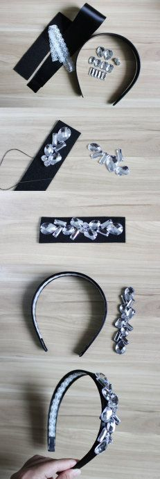 DIY headbands for gossip Girl finale! Diy Headband, Headbands, Rhinestone Headband, Jeweled Headband, Barrettes, Hairbows, Diy Hair Accessories, Ribbon Bows, Ribbon Hair