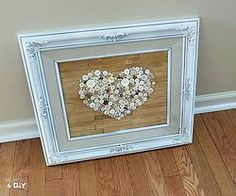 Old Frame Repurposed With Faux Pallet Button Heart Art