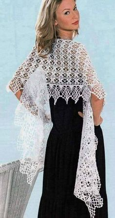 crafts for spring, lace scarf: free knitting patterns Crochet Shawls And Wraps, Knitted Shawls, Crochet Scarves, Crochet Clothes, Gilet Crochet, Crochet Lace, Crochet Hooks, Free Crochet, Knitting Patterns Free