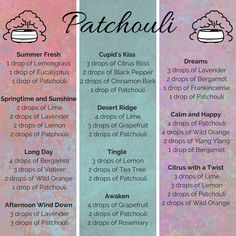 Some of my favourite diffuser blends featuring Patchouli essential oil from doTERRA