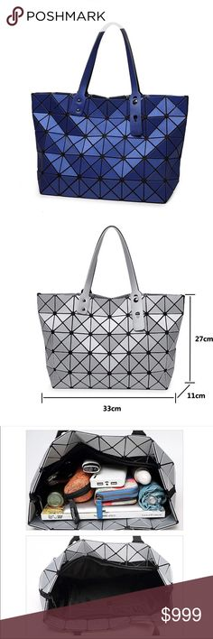 Metallic Blue Geometric Fashion Tote Bag Just arrived. Geometric pattern fashion tote in blue with a hint of metallic in it. No dust bag or box. See photos of the other colors for interior and measurements. Bags Totes