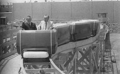 Walt Disney test-riding a PeopleMover.