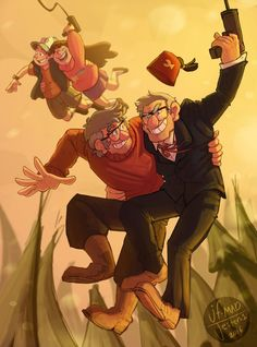 Gravity Falls- The Mystery Twins - Pines family  - Dipper, Mabel, Stanford & Stanley  MadJesters1.deviantart.com