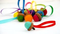 Felted Wool Acorn Ornaments  10 Summer by greenbaboondesigns, $25.00