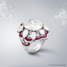 Ancolie Précieuse ring, Pierres de Caractère Variations collection White gold, round and pear-shaped diamonds, calibrated rubies and one cushion-cut D IF type 2A diamond of 9.03 carats. The Ancolie Précieuse ring from the new High Jewelry collection Pierres de Caractère Variations showcases a D IF type 2A diamond of 9.03 carats, that is remarkable for its old cut but also for its extraordinary vivacity and brilliance.