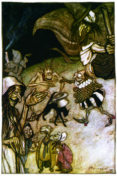 'Witches and Warlocks, ghosts, goblins and ghouls.' Illustration by Arthur Rackham from The Ingoldsby Legends Arthur Rackham, Westminster, Classic Fairy Tales, Scrapbook Blog, Ecole Art, Halloween Art, Vintage Halloween, Artist Art, New Art